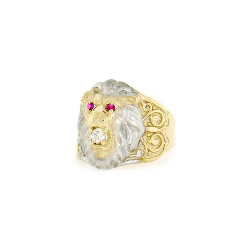 10k Two Tone Gold Big Lion Head Red White CZ Mens Ring