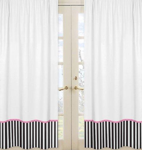 Pink, Black And White Stripe Paris Window Treatment Panels By Sweet Jojo Designs - Set Of 2 front-469240