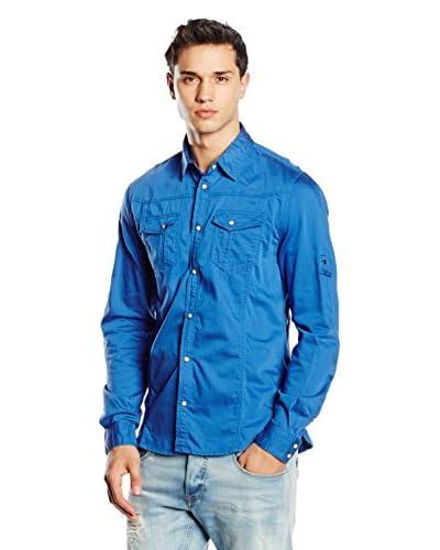 Guess Camisa Hombre Azul