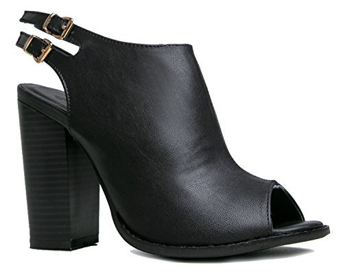 Anne Marie Sarah-11 Peep Toe Bootie -Stacked High Heel - Open Toe Ankle Boot Cutout Ankle Strap,Black,6