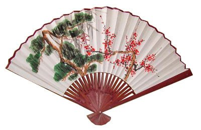 """Unique Asian Art, Décor & Gifts - 24"""" Japanese White Painted Decorative Wall Fan - Green Tree #3"""