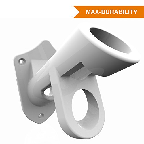 Extremely Durable Flag Pole Bracket Mount - 2 Position - Aluminum - Adjustable Knob - White Powder Coated Mounting - Perfect Holder For All Types of Flags Slate Post Accessories
