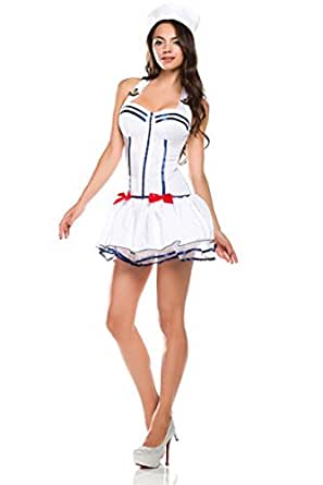 Ninimour-Women's Sailor Pin up Halloween Costume (white)