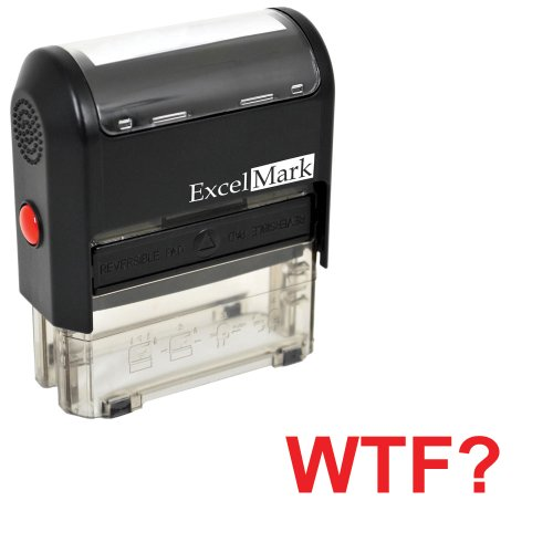 Self-Inking Novelty Message Stamp - WTF? - Red Ink