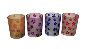 Biedermann & Sons Frosted-Glass Etched Votive Candleholders, Asian Floral, Set of 12