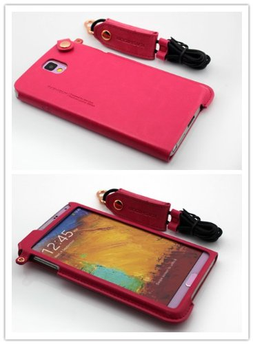 Nine States Business Luxurious Type High Quality Pu Leather Back Cover Protection Lanyard Case For Samsung Galaxy Note 3 Iii N9000 With Earphone Smart Cord Wrap Color Varied Hot Pink