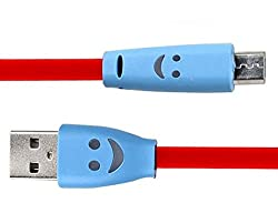 Dhhan Stylish Smiley Red Flat Micro Usb Cable