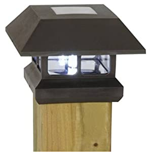 Click to buy LED Outdoor Lighting: Moonrays Solar Powered Plastic Post Cap Lamp Light from Amazon!