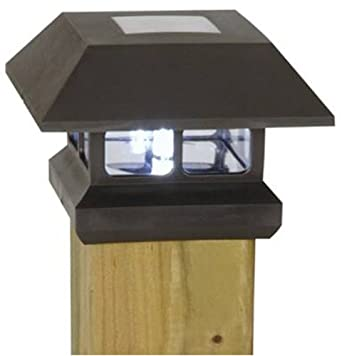 Moonrays 91249 Solar Powered LED Post Cap Light Fixture, Black Finish, Includes NiCD Batteries, Mounting Screws