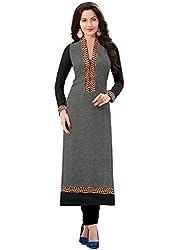 Isha Enterprise Women's Grey Colour Semi Stitched Straight Kurti