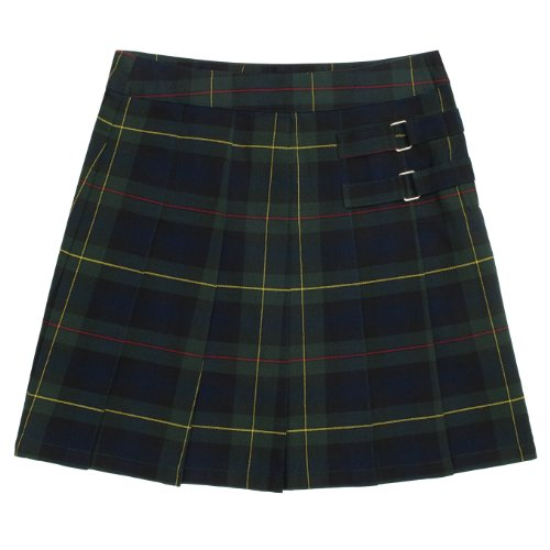 French Toast School Uniforms Plaid Two-Tab Scooter Girls Green Plaid 14 front-563085