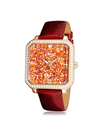 Adee Kaye Women's AK9112-LRG Stars Collection Crystal & Red Leather Watch