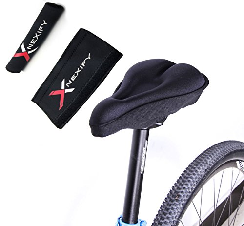 Nexify Bike Cycling Bicycle Soft Silicone Gel Saddle Seat Cover Cushion Thick Pad Black + Bike Chainstay Protector front-958585