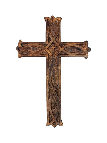 Wooden Wall Hanging French Cross Plaque with Antique Design