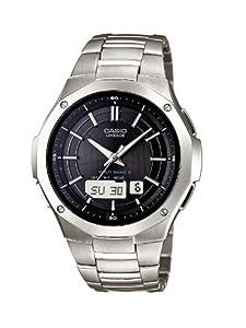 Casio Radio Controlled - Reloj analógico - digital de caballero de cuarzo con correa de titanio plateada (alarma, cronómetro, alarma, solar)