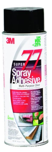 3M Super 77 Spray Adhesive Low VOC< 25% Clear, 24 fl oz can net wt 18.0 oz (Pack of 1)