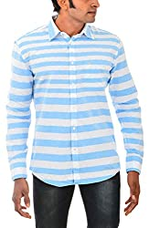 Indipulse Men's Casual Shirt (IF11600612B, Blue and White, M)