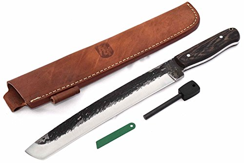 "CFK Cutlery Company IPAK USA Custom Handmade Hammered D2 Exotic Black Palm Wood 16"" CHOKTO TANTO Machete Hunting Bowie Knife"