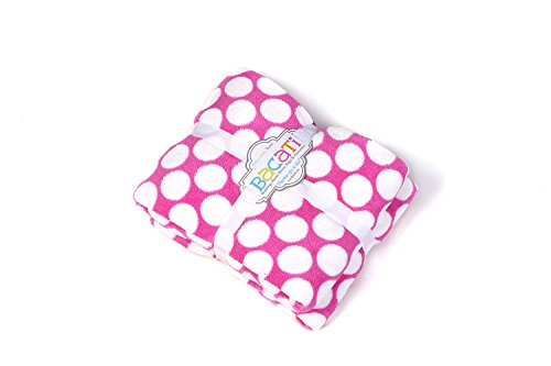 "Bacati Dots Plush Throw, Bright Pink, 50"" x 60"""