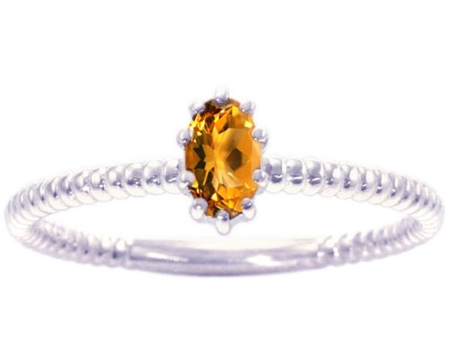 14K White Gold Petite Oval Gemstone Solitaire Stackable Ring-Citrine, size6