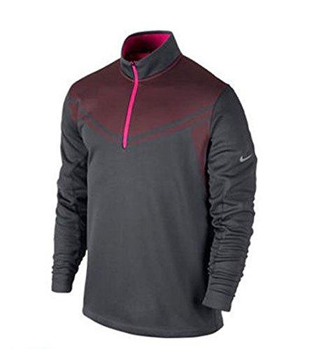 Nike Men's Hypervis Half-Zip Golf Sweater, Dark Grey/Hyper Pink/Hyper Pink/Metallic Silver, X-Large
