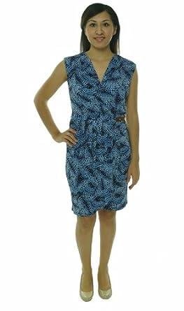 Michael Michael Kors Women's Cap-Sleeve Faux-Wrap Dress (Small, Dark Midnight)
