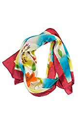 Fashion Silk Scarf Hand Painted - Sunshine Prairie - Oblong Silk Scarves Rectangle Long Scarf Mothers day gifts presents gift ideas her women wife mom mother daughter son birthday gifts her wife presents women girlfriend something special me mom fashion dressy flower floral scarves AS0054-MTC-U