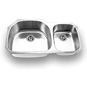 Yosemite Home Decor MAG3720 18-Gauge Stainless Steel Undermount Double-Bowl Sink, 37-5/8-by-20-7/8-by-7-Inch, 9-Inch Left, Satin
