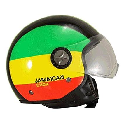 Casque moto jet CHOK CITY PILOTE JAMAICAN 15 - Noir