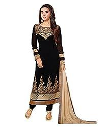 3G9 shop Designer Black Georgette Embroidered Semi Stitched Salwar Suit Dupatta Dress Material