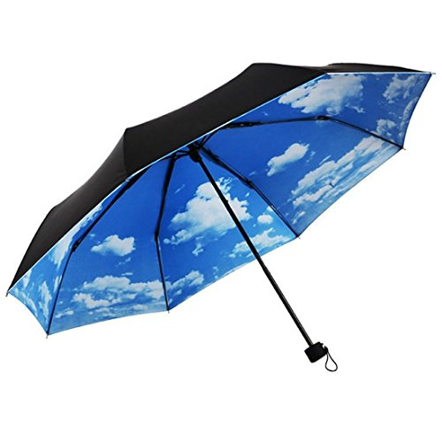 umbrellas yamix 3 folding blue sky white cloud parasol sunblock sunshade anti uv travel. Black Bedroom Furniture Sets. Home Design Ideas