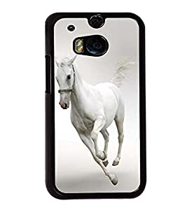 Fuson Premium 2D Back Case Cover Running white horse With white Background Degined For HTC One M8::HTC M8