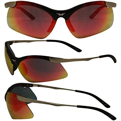 Lightning G-Tech Red Mirror Lenses Metal Framed Safety Glasses ANSI Z87.1+