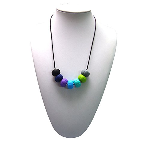 Adelily Nontoxic Nursing & Teething Necklace: Silicone Multicolor Beads in Cool Colors