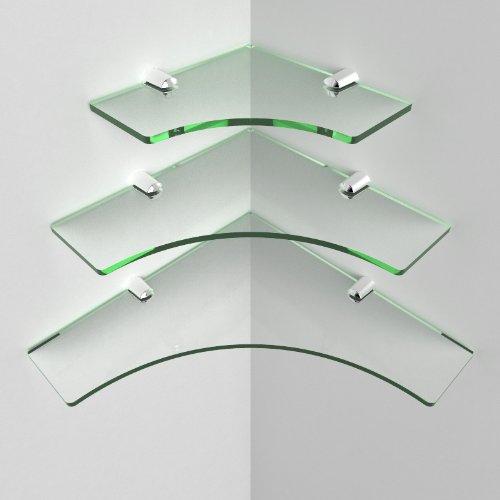 Acrylic Multi Pack Bathroom Corner Shelves - 150mm, 200mm, 250mm, Glass Effect