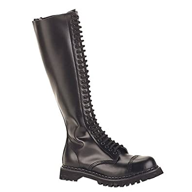 MENS Gothic Knee High Boots 30 Eyelet Black Leather Steel Toe Size: 4