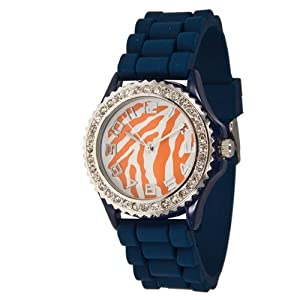 Auburn Tigers Themed Silicone Watch with Blue Band and Orange Animal Print by Judson