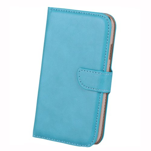 Meaci Samsung Galaxy S4 I9500 Folio Case With Kickstand Credit/Id Card Holder Wallet Pu Leather Material Cover Magnetic Buckle (Blue)
