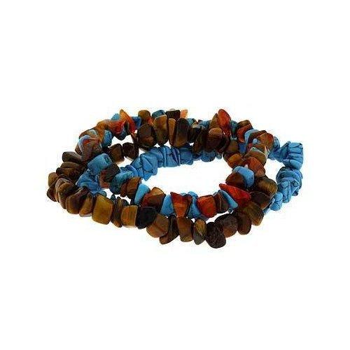 3 Genuine Carnelian, Tiger Eye & Reconstituted Turquoise Multi Chip Bracelet Set