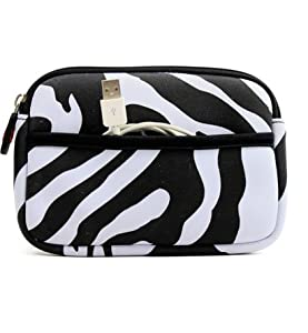 On the go Travel Camera Bag Soft Sleeve Case Pouch for Samsung WB150F - Black & White Zebra Print. Bonus Ekatomi Screen Cleaner Sticker