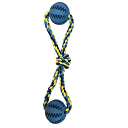 TAILMATE Dog Chew Toys with Natural Rubber Ball for Tug of War and Aggressive Chewers (Blue8)