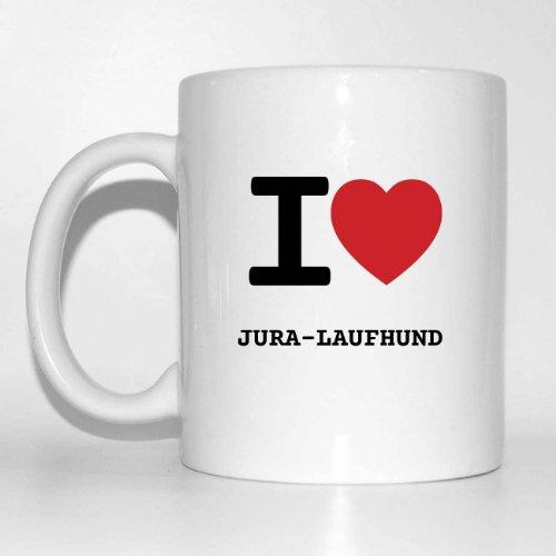 I love JURA-LAUFHUND Kaffeetasse Tasse Becher Cup Mug - Farbe: weiß