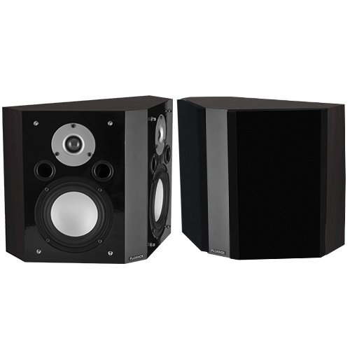 Fluance XLBP-DW Wide Dispersion Bipolar Surround Sound Speakers for Home Theater-Dark Walnut