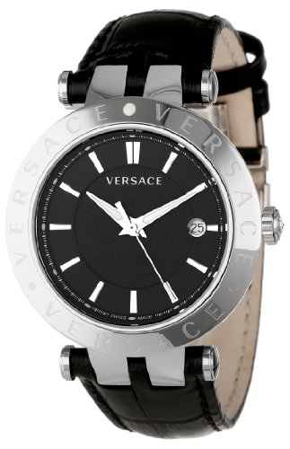 Versace Men's 23Q99D008 S009 V-Race 3 Hands Black Dial Leather 3-Interchangeable Rings Watch