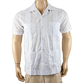 White with Navy Guayabera Poly-Cotton