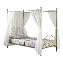 Big Sale WE Furniture Metal Full Canopy Bed with Curtains, Pewter