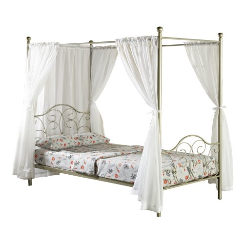 WE Furniture Metal Full Canopy Bed  Curtains,