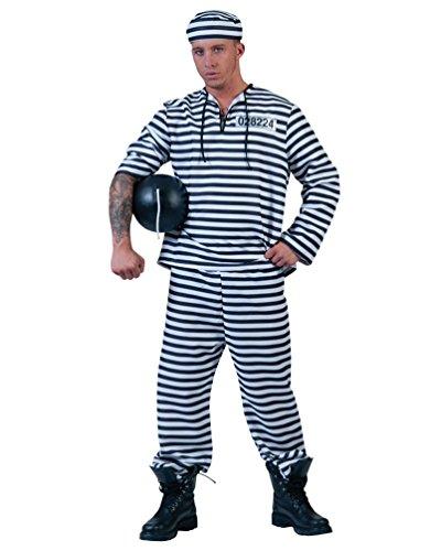 Pierro´s Kostüm Sträfling Alcatraz Herrenkostüm Männerkostüm Komplettkostüm Größe 60/62 für Karneval, Fasching, Party