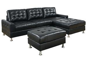 Amazoncom poundex bobkona 3 piece sectional sofa set for Bobkona 3 piece sectional sofa set