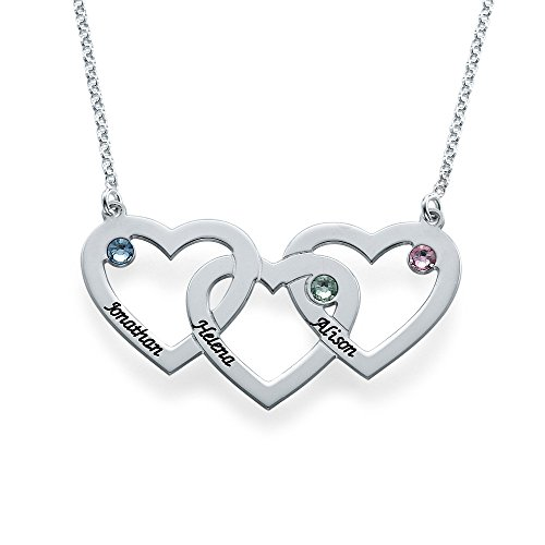 Intertwined Hearts Necklace with Birthstones - Custom Made with Any Name! (20 Inches) (Kids Customs)